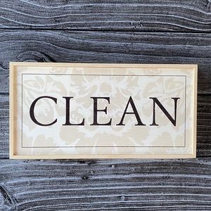 """Wall Decor Wooden """"Clean"""" Sign"""